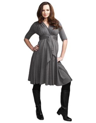Front-Tie Gray Maternity Dress