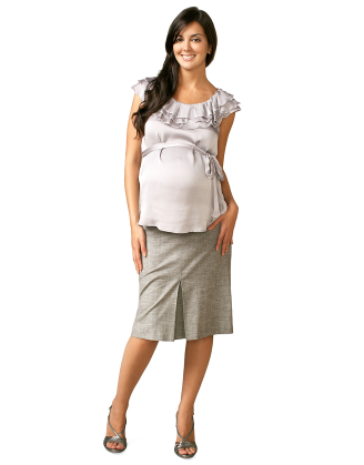 Gray Front Pleat Maternity Skirt