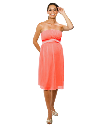 Pink Tie Back Tube Maternity Dress