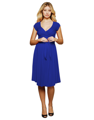 Blue Criss Cross Front Maternity Dress
