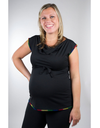 Black Cowlneck Maternity Shell With Trim
