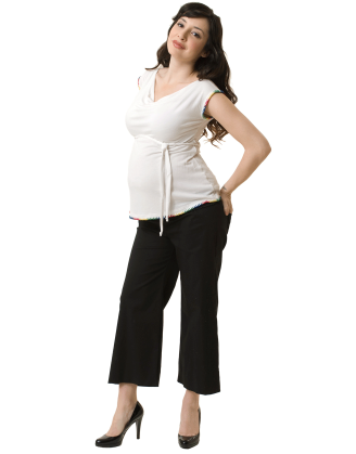Beige Cowlneck Maternity Shell With Trim