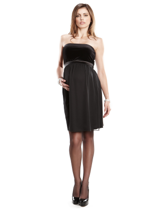 Strapless Velvet Chiffon Maternity Dress
