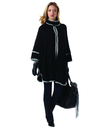 Amira Knitted Black With Gray Trim Maternity Cape Coat