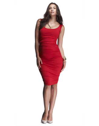Ruched Tank Red Maternity Dress