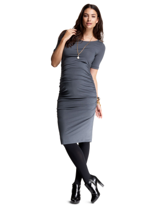 Gray Ruched T-Shirt Maternity Dress