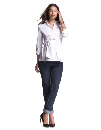 White Tie Front Maternity Blouse