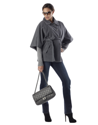 Gray Cape Maternity Coat