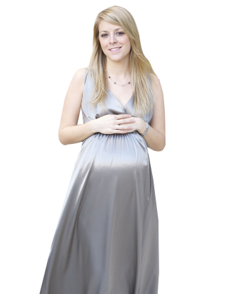 Silver Deluxe Long Satin Maternity Dress
