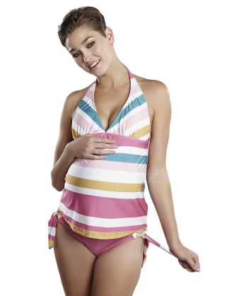 Pink, White & Blue Striped Josie Maternity Bathing Suit