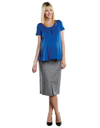 Blue Tweed Front Pleat Maternity Skirt