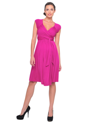 Purple Criss Cross Front Maternity Dress