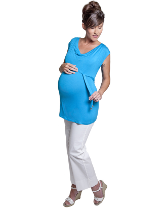 Turquoise Cowlneck Maternity Shell
