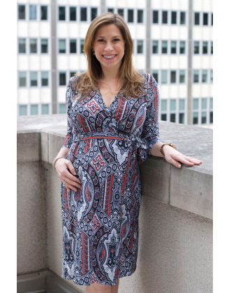 Gray, Black & Red Wrap Maternity Dress