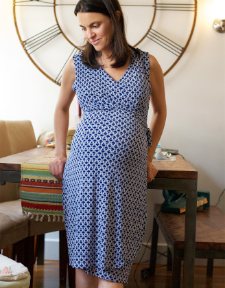 Sleeveless Blue Wrap Maternity Dress