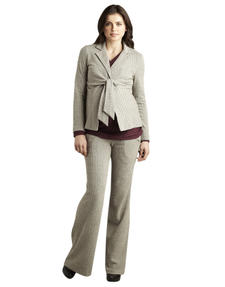 Gray Herringbone Dress Maternity Pants