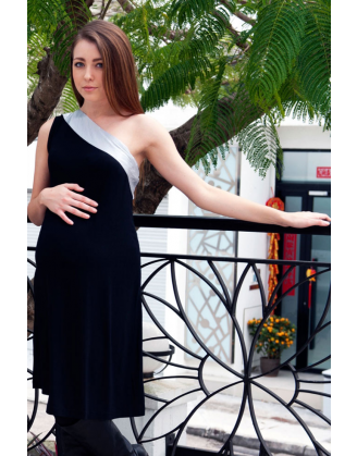 Cosma Black/Silver Maternity Dress