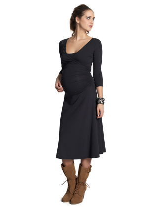 Dana 3/4 Sleeve Black Maternity Dress