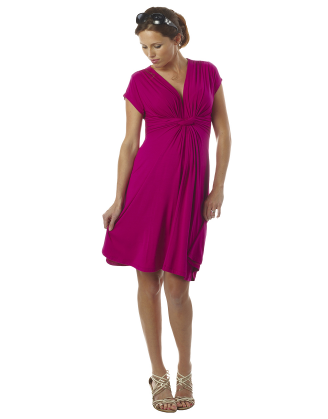 Jolene Short Sleeve Pink Knot Maternity Dress