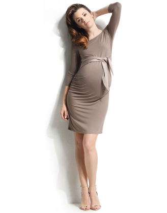 Taupe (Cappuccino) Dacja Maternity Dress