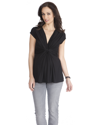 Jolie Black Front Knot Maternity Top