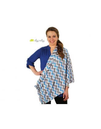 Infinity Nursing Scarf - Blue Skies Chevron