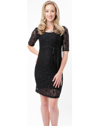 Fitted Lace Black Maternity Dress
