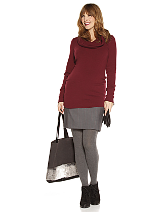 Bi-Texture Cowlneck Maternity Sweater