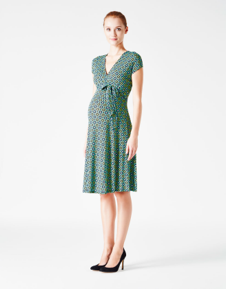 Navy & Green Perfect Wrap Maternity Dress