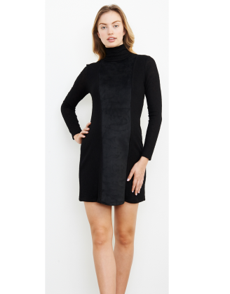 Sueded Turtleneck Maternity Dress