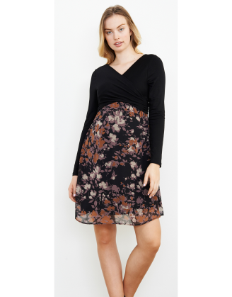 Crossover Lilac Floral Black Maternity Dress