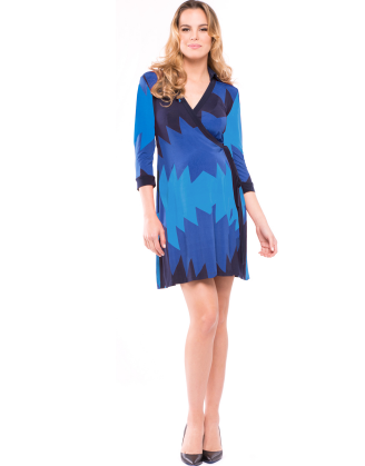 Olivia Blue Aztec Maternity Dress