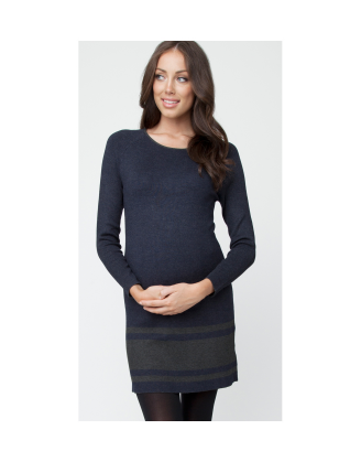 Jacquard Striped Navy Tunic Maternity Dress