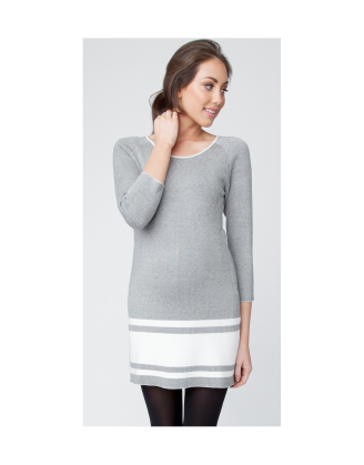 Jacquard Striped Gray Tunic Maternity Dress