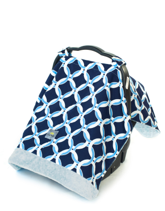 Infant Car Seat Canopy/Tummy Time Mat - Social Circle Blue