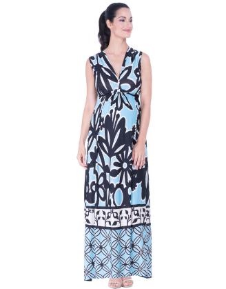 Angelina Blue Floral Maternity Maxi Dress