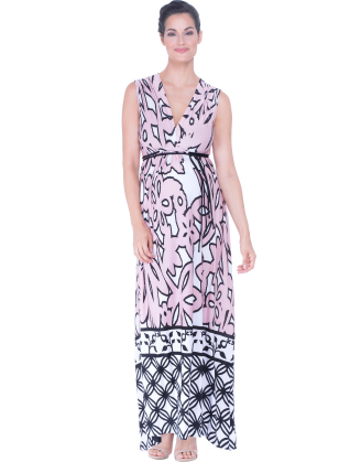Angelina Pink Floral Maternity Maxi Dress