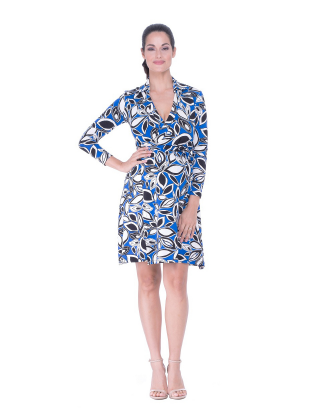 Aubree Blue Leaf Maternity Dress