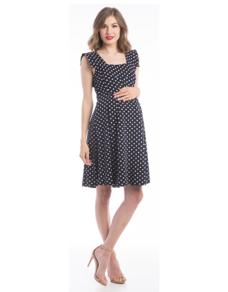Rachel Navy-White Maternity Dress